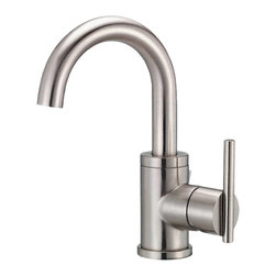 "Danze - Danze D221558BN Centerset Side Handle Brushed Nickel - Danze D221558BN Brushed Nickel Single Handle Lavatory Faucet is part of the Parma Bath collection.  D221558BN Single hole mount lav faucet has a 5 1/4"" long and 9 1/2"" high swivel spout, with metal pop-up drain assembly included.  D221558BN Single lever handle meets all requirements of ADA.  Californian and Vermont compliant.  WaterSense Certified."