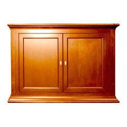 """Highland TV Lift Cabinet For Flat Screen TV's Up To 46"""" - At first glance, it's a beautiful bed-end cabinet with a dark cherry finish. The Highland TV lift cabinet transforms any room into the ultimate theater like experience with the press a button."""