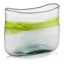 Galaxy Vase - A drift of lime green floats a ring around organically shaped oblong vase, handcrafted of recycled glass.