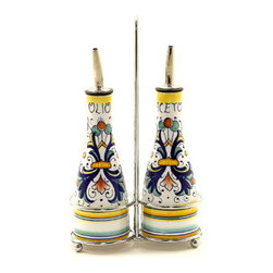 Artistica - Hand Made in Italy - RICCO DERUTA: Oil and Vinegar Cruet on Chrome Rack - Metal parts made in the USA - Ceramic parts hand painted and imported from Deruta-Italy.