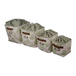 Enchante Accessories Inc - Canvas Storage Bins with Rope Handles & Drawstring Liner, Set of 4, Taupe - Ditch the traditional laundry baskets and plastic storage bins and opt for something a little more stylish with this set of nested laundry and storage baskets from Raymond Waites.  The Raymond Waites Canvas Storage Bins with Rope Handles are made from durable cotton canvas fabric and are available in a variety of stylish allover prints with distinctive details that make it easy to organize different items inside.  This set includes one extra-large, one large, one medium, and one small sized storage basket, each of which is detailed with woven basket grab handles for easy carrying and a metal name plate that allows you to mark the bin so that you know what's inside.