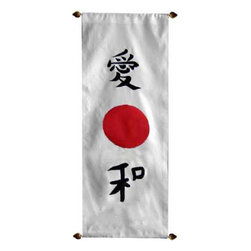 "Oriental-Decor - Japanese Peace Oriental Scroll - This alluring Japanese scroll depicts the words ""love"" and ""peace"" with a red sun in between. Hang this beautiful scroll painting anywhere for marvelous decoration."