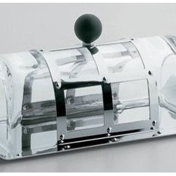 """Alessi - Michael Graves Butter Dish - Perfect for every host, this Hors D'Oeuvre Tray Set is ideal for a classy party. In a nice silver finish, this tray is perfect for just about anything. The tray has four individual sections which make it unique and one of its kind.  Features: -Butter dish. -With lid in crystal and black knob in polyamide. -Stylist, durable, elegant and innovative. -Mirror polished finish. Specifications: -Dimensions: 7.6"""" L x 3.6"""" W x 3"""" H. -Material: Stainless Steel, crystal, polyamide. -Dishwasher safe."""