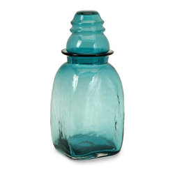 Imax Worldwide Home - Insulator Large Glass Canister - Material: 100% Glass. Food safe. 14.25 in. H x 6 in. D. Weight: 1.0582 lbs.Keep essential items visible and within reach in this large aqua glass lidded canister. Food safe.