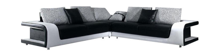 VIG Furniture - B333 Two-Tone Black & White Leather Sectional Sofa With Grey Fabric Cushions - The B333 sectional sofa will be the perfect addition for any living room looking to add a modern touch. This sectional comes upholstered in a beautiful two-tone black and white leather in the front where your body touches. Skillfully chosen match material is used on the back and sides where contact is minimal. High density foam is placed within the cushions for added comfort. The sectional features open cut-out arm design that adds to the overall look. The backrests cushions come wrapped ina  grey microfiber fabric.