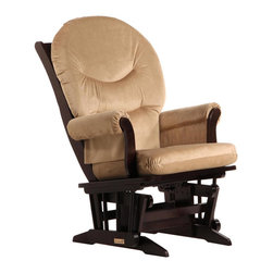Dutailier - Dutailier Sleigh Glider in Espresso and Light Brown Fabric - Dutailier - Gliders & Rockers - D0061C693091 - About This Product: Ideal for nursing or simply relaxing, this Sleigh glider offers an exceptionally smooth and extra long glide motion with thick cushions and padded arms that will add class and elegance to your decor. There are no sharp edges, the finish is toxic free and this product meets all safety standards.