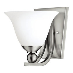 Hinkley Lighting - Single-Light Sconce - 4650BN - Brushed nickel finish with opal etched glass. Backplate measures 7-1/2 inches tall by 6 inches wide. Takes (1) 100-watt incandescent A19 bulb(s). Bulb(s) sold separately. Dry location rated.