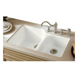 KOHLER - KOHLER K-5931-4U-0 Executive Chef Undermount Kitchen Sink - KOHLER K-5931-4U-0 Executive Chef Undermount, Large/Medium Kitchen Sink with Four Oversized Faucet Holes in White