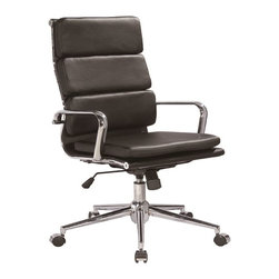 VIG Furniture - Modrest Edge High-Back Modern Black Office Chair - The design of this modern office chair is based on the creator's passion and user's taste. This brown office chair is a great accompaniment to any desk. It has a high back rest that will support the back and keep you comfortable for hours at end. With this office chair, you can rest assured that your work will be your top priority.