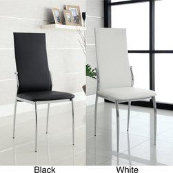 Furniture of America - Furniture of America Duarte Modern Leatherette Dining Chairs (Set of 2) - Give your dining room space a jolt of contemporary panache with these modern dining chair set. These two chairs feature a chrome-finished stainless-steel frame with leatherette upholstery for long-lasting good looks and performance.