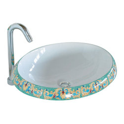 WS Bath Collections - LVT 100 - GI Bathroom Sink - Ceramica by WS Bath Collections 16.1 Ø x 5.9 Above The Counter Bathroom Sink/ Washbasin in Hand Painted and Hand Decorated Ceramic
