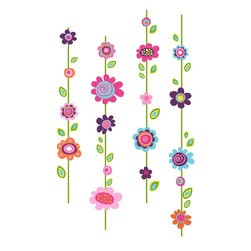 York Wallcoverings - Flowers Stripe Large Wall Accent Sticker Set - FEATURES: