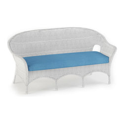 Forever Patio - Rockport Traditional Wicker Sofa, Air Blue Cushions - The Rockport 3 Seat Sofa (SKU FP-ROC-3S-WH-AB) will give your patio a timeless look and provides lots of seating and comfort. Its UV-protected White wicker and round-weave design creates a cheery, traditional look that is made to last. This sofa includes fade- and mildew-resistant Sunbrella cushions; the industry's best outdoor fabric.