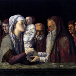 """Giovanni Bellini Presentation at the Temple - 18"""" x 24"""" Premium Archival Print - 18"""" x 24"""" Giovanni Bellini Presentation at the Temple premium archival print reproduced to meet museum quality standards. Our museum quality archival prints are produced using high-precision print technology for a more accurate reproduction printed on high quality, heavyweight matte presentation paper with fade-resistant, archival inks. Our progressive business model allows us to offer works of art to you at the best wholesale pricing, significantly less than art gallery prices, affordable to all. This line of artwork is produced with extra white border space (if you choose to have it framed, for your framer to work with to frame properly or utilize a larger mat and/or frame).  We present a comprehensive collection of exceptional art reproductions byGiovanni Bellini."""