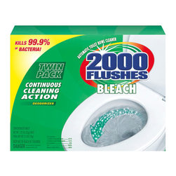 WD-40 COMPANY - C-2000 FLUSHES CONCENTRAD TBLT 6/1.25oz TWIN PK - Cleans and deodorizes with every flush, keeping the bowl sanitary. Kills 99.9% of bacteria. Concentrated, powerful chlorine formula bleaches away stains and keeps water crystal clear. Lasts up to four months. Safe for plumbing and septic systems. 1.25-oz. tablet. 2 tablets per pack. 6 packs (12 tablets) per case.. . . . . . 6 Packs per Case. 2 Tablets per Pack. 2000 Flushes® Bleach Antibacterial Automatic Bowl Cleaner. Dimensions: Height: 0.65, Length: 0.5, Width: 0.54. Country of Origin: US