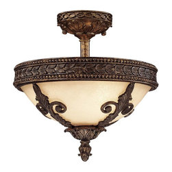Savoy House - Corsica Semi-Flush - Draw the eye up with this elegant ceiling fixture, which will provide so much more than illumination. The intricacy of the design is subtly beautiful, and the sand-casted true bronze will go with any room decor.