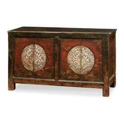 """China Furniture and Arts - Hand-Painted Mongolian Cabinet - With understated elegance, this Elmwood cabinet features hand-painted distressed floral motif on its doors. Two removable shelves provide convenient storage accommodations. Each interior compartment measures 27""""W x 14""""D x 23.5""""H A piece that will put life into any space. Fully assembled."""