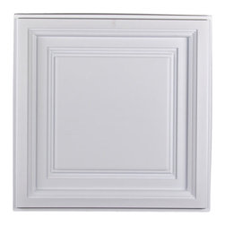 """Westminster Ceiling Tile - White - Perfect for both commercial and residential applications, these tiles are made from thick .03"""" vinyl plastic. Their lightweight yet durable construction make these tiles easy to install. Waterproof, these tiles are washable and won't stain due to humidity or mildew. A perfect choice for anyone wanting to add that designer touch at an amazing price."""