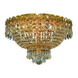 "PWG Lighting / Lighting By Pecaso - Agathe 4-Light 16"" Crystal Flush Mount 1615F16G-SS - This classical Agathe Crystal Chandelier with flowing symmetrical shape and nearly invisible frame offers a striking surge of brilliant light. Sconces and ceiling mounts enhance your room decor."