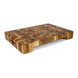"Proteak - Proteak End Grain Bowl Cut-Out Rectangle Chopping Block 20 x 14 x 2.5 - This sturdy 20 x 14"" inch teak chopping block was built to last."