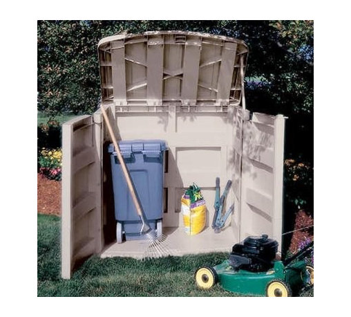Suncast 4.5 x 3 ft. Tool Shed - Dimensions:Exterior dimensions: 4.58W x 3.08D x 4.65H feetInterior dimensions: 4.08W x 2.58D x 4.17H feetDoor dimensions: 4.125W x 4.15H feet With a 45 cubic foot capacity the Suncast 4.5 x 3 Foot Horizontal Outdoor Shed is a convenient place to store your garden tools and lawn mower. Constructed from durable weather-resistant resin this shed is made to withstand the harshest elements and stay dry at all times. The built-in supports provide space to put wood shelves on while a padlock hasp keeps your tools safe. The attractive taupe color adds to its appeal. Easy assembly guarantees that this shed is ready to use just minutes after you remove it from the box.About Suncast CorporationSuncast is known for its high-quality low-maintenance storage products and accessories. Organize gardens back yards garages basements and more. Suncast's full line of products includes everything from storage lockers to sheds and bins. Suncast pieces are designed for low-maintenance worry-free performance that's versatile enough to suit your every need.