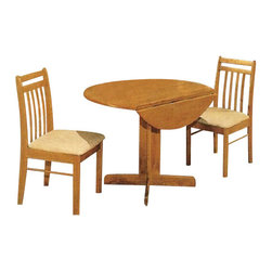 "ACMACM02983 - 3-Piece Oak Finish Wood Breakfast Table Set with 2 Chairs and A Drop Leaf - 3-Piece oak finish wood breakfast table set with 2 chairs and a drop leaf. Measures 40"" round table with drop leaf and 34"" H chairs at back. Some assembly required."