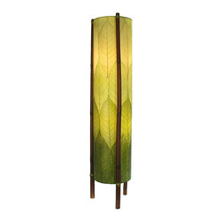 "Lamps Plus - Asian Eangee Hue Series Green Cocoa Leaves Tower Floor Lamp - The striking shade of this floor lamp is made of cocoa leaves that have been put through a labor-intensive process of fossilization. The leaves are then stained in organic dyes and sealed. The wrought iron frame is powder coated and the legs are made of real bamboo which is hand-stained and bound with twine. A distinctive addition to any decor. Powder coat finish. Wrought iron frame. Fossilized cocoa leaf shade. Takes two 40 watt bulbs (not included). On-off foot switch. 11"" wide. 48"" high.  Powder coat finish.   Wrought iron frame.   Fossilized cocoa leaf shade.   Takes two 40 watt bulbs (not included).   On-off foot switch.   11"" wide.   48"" high."