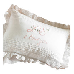 Taylor Linens - P.S. I Love You Pink/Green Boudoir Pillow - Add a sweet postscript to the end of your day with this lovely reminder. Delicately embroidered in pink and green on white, the pintucks and frilly ruffled edge will give you — or the one you love — sweet dreams from now on.