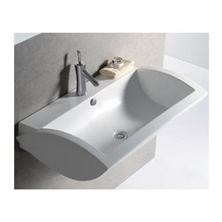 Whitehaus - Isabella Wall Mount Sink w Overflow - Includes mounting hardware. Faucet not included. Rectangular shape. Rear centre drain. Single hole faucet drilling in center. Made from porcelain. White color. Inside: 28.37 in. W x 13.37 in. D x 5.5 in. H. Overall: 31.87 in. W x 20 in. D x 9 in. H (60 lbs.). Warranty