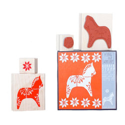 Yellow Owl Workshop - Dala Horse & Star Stamp Set - Set of two natural rubber stamps with thick cushion, each mounted on a maple block.