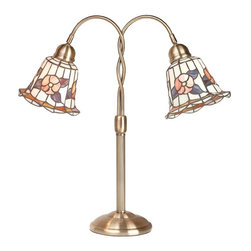 Renovators Supply - Table Lamps Brass Table Lamp Tiffany Style 24 H x 23 W - Table Lamp. This Tiffany style table lamp measures 24 inches high x 23 inches wide x 7 in. base with felt bottom. Has a roller switch, both light come on together. This Tiffany style lamp is Solid Brass base with an antique finish.