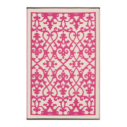 Fab Habitat - Indoor/Outdoor Venice Rug, Cream & Pink, 4x6 - Add a touch of Venetian splendor to your patio or playroom. This festive all-weather rug is woven from straws made of recycled plastic. Washable and mildew resistant, it's an ideal blend of good looks and easy maintenance. Comes with its own tote bag, for convenient transport or storage.
