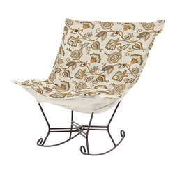 Howard Elliott - Avignon Scroll Puff Rocker - Titanium Frame - Nothing less than the most comfortable chair on the planet! The soft luxury and style of our Puff Collection is a great addition to any room. All Puff cushions are constructed with luxurious foam for optimal comfort. Like most HEC items, Puff cushions are removable for easy cleaning, are interchangeable between frames.