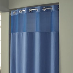 """Hookless - Hookless Waffle 71-Inch x 74-Inch Fabric Shower Curtain and Liner Set in Moonlig - This innovative shower curtain and liner offer no hassles thanks to their """"split ring"""" hookless design that lets you hang them in less than 10 seconds."""