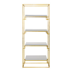 Kathy Kuo Home - Brenner Hollywood Regency Gold White Lacquer Etagere - This elegant, geometric étagère mixes Modern and Hollywood Regency styles. Polished white lacquer on each shelf adds a Global Bazaar finish. Four fabulous, rectangular shelves offer display areas for books, photographs and other collectibles.