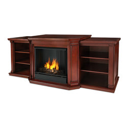 Real Flame - Valmont Entertainment Center Ventless Gel Fireplace in Dark Mahogany - Uses clean burning Real Flame gel fuel emitting up to 9,000 BTUs of heat per hour lasting up to 3 hours.