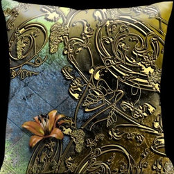Lama Kasso - Como Gardens Lime Green to Blue with Antique Gold Vines and Orange Accents 18 x - -Satin Lama Kasso - 111