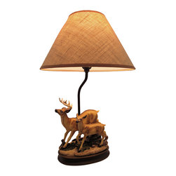 Zeckos - Buck and Doe Deer Table Lamp with Burlap Shade 20 In. - This table lamp features a pair of deer and is a lovely accent to the homes of wildlife enthusiasts. Made of cold cast resin, it measures 20 inches tall with an 8 inch by 5 1/2 inch base. The coordinating beige burlap shade measures 13 inches in diameter and is lined with plastic to keep its shape. The lamp uses up to a 60 watt (max) type A bulb (not included), and has a black 6 foot long power cord.