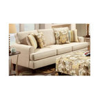 "Chelsea Home - Contemporary Hudson Sofa - Includes four throw pillows. Ottoman not included. Sofa upholstered in marloIvory. Two pillows in daintree flax and others in zola flax cover. Seating comfort: Medium. Hardwood frames nailed together for strength and durability. Attached back cushion. 1.8 density foam in cushions. Dacron wrapped and fully reversible cushions. Made from 68% polypropylene and 32% polyester. Made in U.S.A. No assembly required. 85 in. L x 38 in. W x 38 in. H (120 lbs.)The motto of Verona VI is ""Where Style Meets Value"". We understand the importance of the distinct, yet separate elements that the consumer as well as the retailer expects from today's manufacturers. It is our purpose driven desire to meet these expectations while forming friendships that will last for generations to come. We would love to have you as a part of our family as we strive to excel in our style, value and service. The stress points are reinforced with blocks to secure long lasting frame."