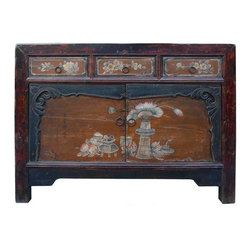 Golden Lotus - Chinese Old Flower Mongolian Sideboard Table TV Stand - This is a decorative flower graphic Chinese Mongolian style low table with compartment and 3 drawers for storage. Its old vintage accent enriches the interesting tone to the room.
