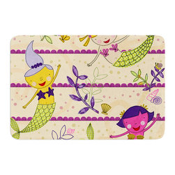 "KESS InHouse - Jane Smith ""Under the Sea"" Tan Purple Memory Foam Bath Mat (24"" x 36"") - These super absorbent bath mats will add comfort and style to your bathroom. These memory foam mats will feel like you are in a spa every time you step out of the shower. Available in two sizes, 17"" x 24"" and 24"" x 36"", with a .5"" thickness and non skid backing, these will fit every style of bathroom. Add comfort like never before in front of your vanity, sink, bathtub, shower or even laundry room. Machine wash cold, gentle cycle, tumble dry low or lay flat to dry. Printed on single side."