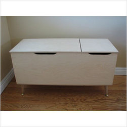 Gracie Toy Box - Award-winning designer Kiersten Hathcock has created this eco-friendly modern take on a classic toy box. Keeping toys out of sight when playtime is over, this beauty featured mid-century-inspired tapered legs as well as a slow-close lid for safety.