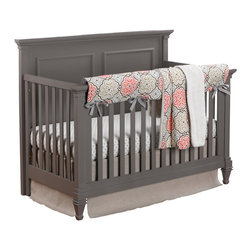 Liz and Roo - Garden Gate with Linen Bumperless Crib 4 Piece Bedding - 4-pc Baby Bedding set including garden gate rail cover, gray chelsea crib sheet, garden gate receiving blanket and flax linen crib skirt.