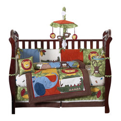 Sweet Jojo Designs - Jungle Time 9-Piece Crib Bedding Set - The Jungle Time 9 pc Crib Bedding Set by Sweet Jojo Designs has all that your little bundle of joy will need. Let the little one in your home settle down to sleep in this incredible nursery set.Jump into the jungle with this adorable crib bedding set featuring detailed monkeys, lions, giraffes, crocodiles and elephant jungle themed appliqués and embroidery works. This collection uses the stylish colors of green, blue, orange, brown, yellow, red, and ivory. The design uses cotton, microsuede, corduroy, chambray, denim, and plush minky fabrics that are machine washable for easy care. This wonderful set will fit all cribs and toddler beds.