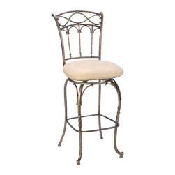Hillsdale Furniture - Hillsdale Kendall 26 Inch Counter Height Stool - The elegance of the Kendall stool is brought forth by its intricate details. Notice on the back the twisting spindles topped by arches and how this motif is carried into the stool's legs. The pewter base with antique bronze highlighting finish and faux suede fawn (Beige) fabric seat adds a warm glow to complete the wonderful style of the Kendall stool.