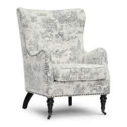 """Wholesale Interiors - Livingston Beige Linen Accent Chair with Colonial Print - Bespattered with periwinkle sketches of the Liberty Bell, Federal Hall, and other historical Colonial American landmarks, the Livingston Arm Chair's nostalgia is a charming addition to your living room. Made in China with an engineered wood frame, the Livingston Designer Accent Chair features a frame and removable seat cushion padded with firm foam (CA117 compliant). Images of America's time of birth are printed in light blue (periwinkle) on a beige linen base. Dotting the perimeter of the chair are antiqued metal upholstery tacks. Completing the look are black lacquer wood legs, the front two of which are turned wood with decorative antiqued metal wheels. The Livingston Arm Chair requires minor assembly and calls for spot cleaning as necessary. Product dimension: 29.37""""W x 35.25""""D x 41""""H, seat dimension: 21""""W x 22.25""""D x 19.75""""H, seat height: 26.12""""."""