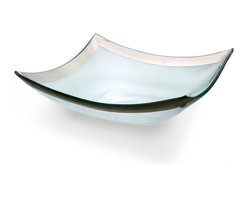 """Annieglass - Roman Antique Pointed Bowl Platinum Rim - Annieglass handmade Roman Antique collection large four point bowl in platinum trim. Chip resistant, safe for dining, dishwasher safe and highly durable. Handmade glass 11 x 11"""" large four point bowl produced in the U.S.A. Durable, chip-resistant and dishwasher safe. Each Annieglass piece is handmade from architectural quality glass with Annie Morhauser's trademark slumping process  which is a uniquely developed glass bending technique. Each piece is highly durable, dishwasher safe, chip resistant, and safe for dining."""