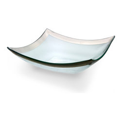 "Annieglass - Roman Antique Pointed Bowl Platinum Rim - Annieglass handmade Roman Antique collection large four point bowl in platinum trim. Chip resistant, safe for dining, dishwasher safe and highly durable. Handmade glass 11 x 11"" large four point bowl produced in the U.S.A. Durable, chip-resistant and dishwasher safe. Banded with Each Annieglass piece is handmade from architectural quality glass with Annie Morhauser's trademark slumping process  which is a uniquely developed glass bending technique. Each piece is highly durable, dishwasher safe, chip resistant, and safe for dining."
