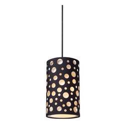 Elk Lighting - Enchantment 1-Light Pendant in Matte Black - Give your space an edgy ambiance with this Unique Pendant Collection.�Echoing natural patterns, these die stamped hardback fabric shades feature random river stone shaped or organic rosette patterns that are offset by matte black drum shades. Hardware in matte black finish.