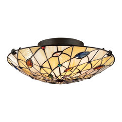 Quoizel - Quoizel QZ-TF1409SVB Tiffany Flush Mount - Elegant Tiffany style is a timeless staple of home decor.  The various designs are handassembled using the copper foil technique developed by Louis Comfort Tiffany.  With an enormous variety of colors and patterns to choose from, Quoizel Tiffany�۪s have become more popular than ever.